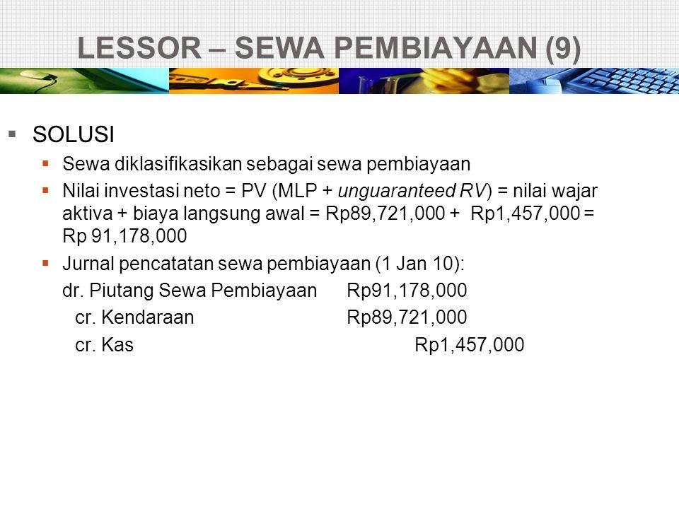 LESSOR – SEWA PEMBIAYAAN (9)  SOLUSI  Sewa diklasifikasikan sebagai sewa pembiayaan  Nilai investasi neto = PV (MLP + unguaranteed RV) = nilai waja