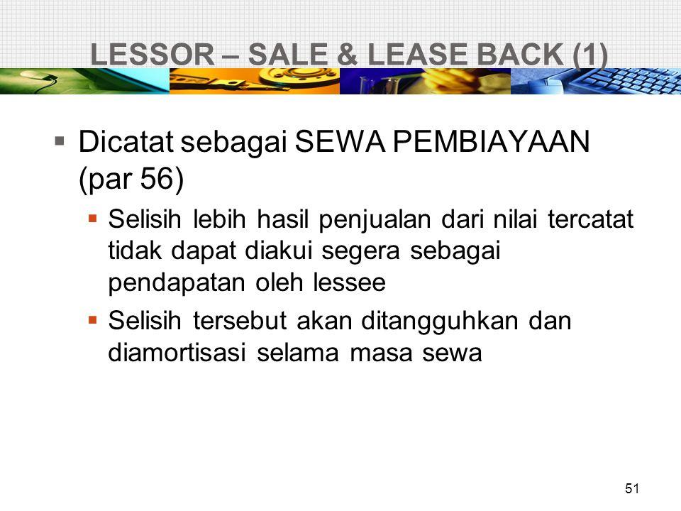 LESSOR – SALE & LEASE BACK (1) 51  Dicatat sebagai SEWA PEMBIAYAAN (par 56)  Selisih lebih hasil penjualan dari nilai tercatat tidak dapat diakui se