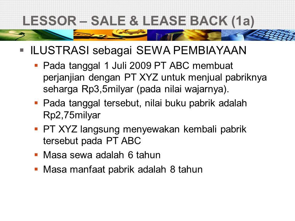 LESSOR – SALE & LEASE BACK (1a)  ILUSTRASI sebagai SEWA PEMBIAYAAN  Pada tanggal 1 Juli 2009 PT ABC membuat perjanjian dengan PT XYZ untuk menjual p