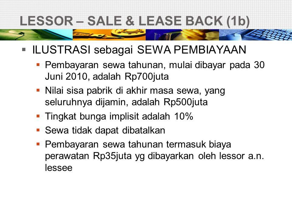 LESSOR – SALE & LEASE BACK (1b)  ILUSTRASI sebagai SEWA PEMBIAYAAN  Pembayaran sewa tahunan, mulai dibayar pada 30 Juni 2010, adalah Rp700juta  Nil