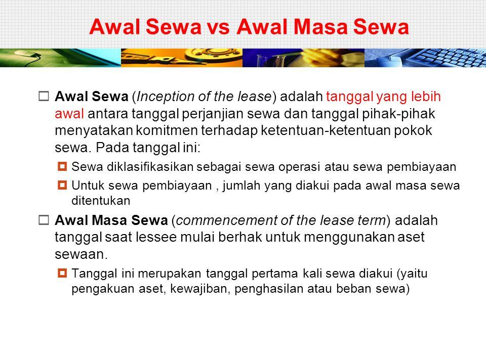 LESSOR – SEWA PEMBIAYAAN (7)  ILUSTRASI  Pada tanggal 1 Januari 2010 PT ABC (lessor) me- nyewakan kendaraan pada PT XYZ (lessee).