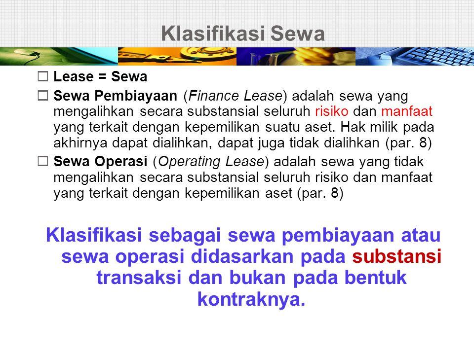 Klasifikasi Sewa  Lease = Sewa  Sewa Pembiayaan (Finance Lease) adalah sewa yang mengalihkan secara substansial seluruh risiko dan manfaat yang terk