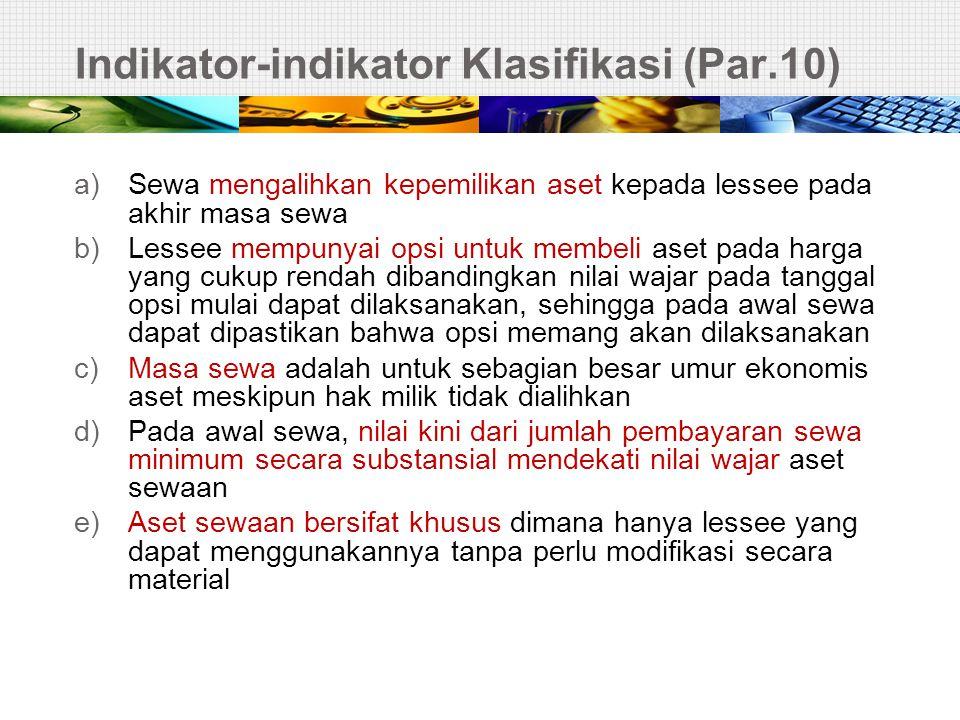 LESSOR – SALE & LEASE BACK (3)  Dicatat sebagai SEWA OPERASI (par 58) cont..