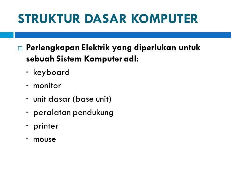 STRUKTUR DASAR KOMPUTER  Unit Dasar / Base Unit  Unit dasar dari system komputer adalah motherboard, yaitu alokasi penempatan dari penyimpanan memory komputer (dikenal sebagai RAM) dan CPU (Central Processing Unit)  RAM menangani program dan data  RAM diukur dalam satuan Megabytes (satu MB = 1 juta karakter).