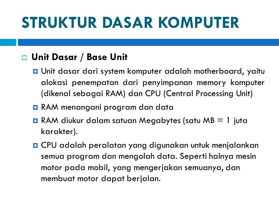 STRUKTUR DASAR KOMPUTER  Unit Dasar / Base Unit  Unit dasar dari system komputer adalah motherboard, yaitu alokasi penempatan dari penyimpanan memor