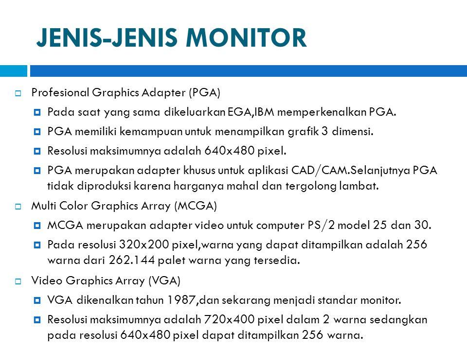JENIS-JENIS MONITOR  Profesional Graphics Adapter (PGA)  Pada saat yang sama dikeluarkan EGA,IBM memperkenalkan PGA.  PGA memiliki kemampuan untuk