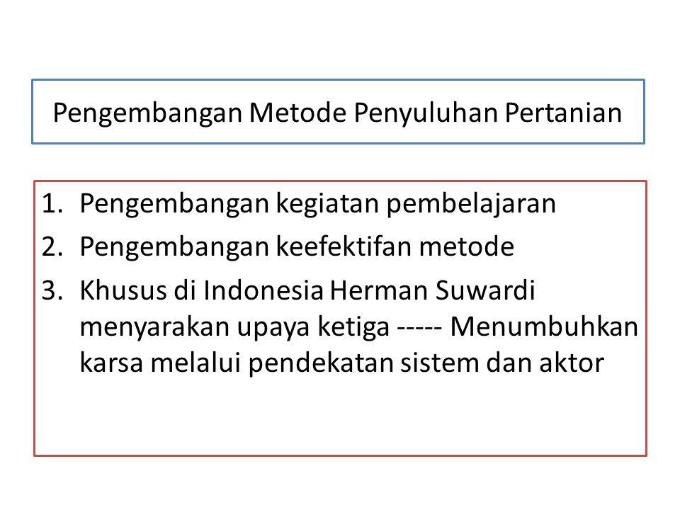 Pengembangan Metode Penyuluhan Pertanian 1.Pengembangan kegiatan pembelajaran 2.Pengembangan keefektifan metode 3.Khusus di Indonesia Herman Suwardi m