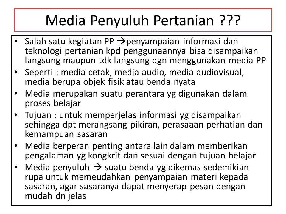 Media Penyuluh Pertanian ??? • Salah satu kegiatan PP  penyampaian informasi dan teknologi pertanian kpd penggunaannya bisa disampaikan langsung maup