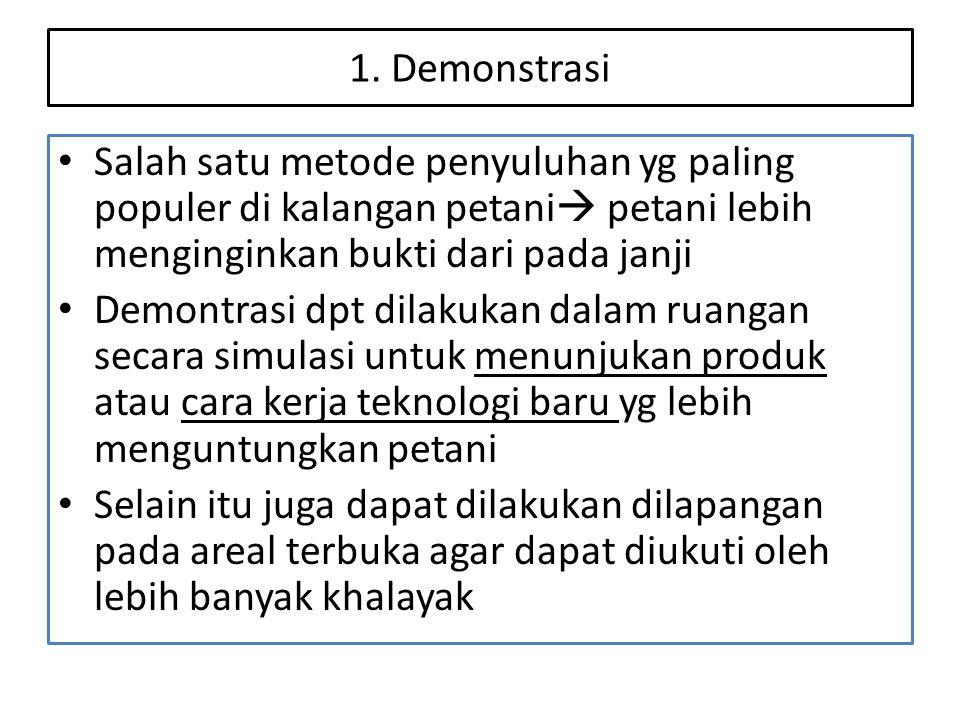 1. Demonstrasi • Salah satu metode penyuluhan yg paling populer di kalangan petani  petani lebih menginginkan bukti dari pada janji • Demontrasi dpt
