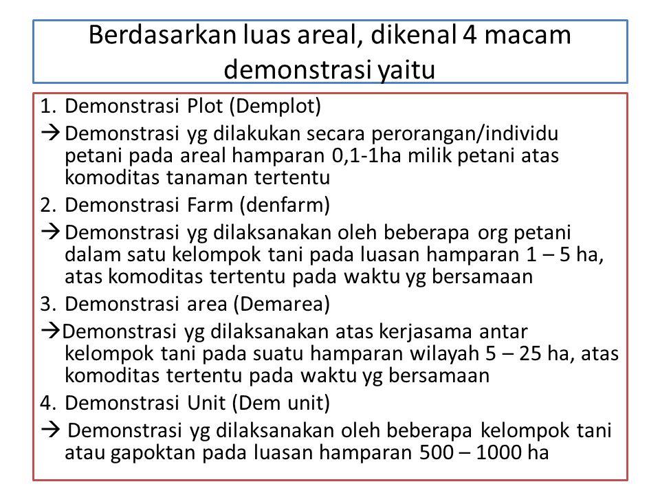 Berdasarkan luas areal, dikenal 4 macam demonstrasi yaitu 1.Demonstrasi Plot (Demplot)  Demonstrasi yg dilakukan secara perorangan/individu petani pa