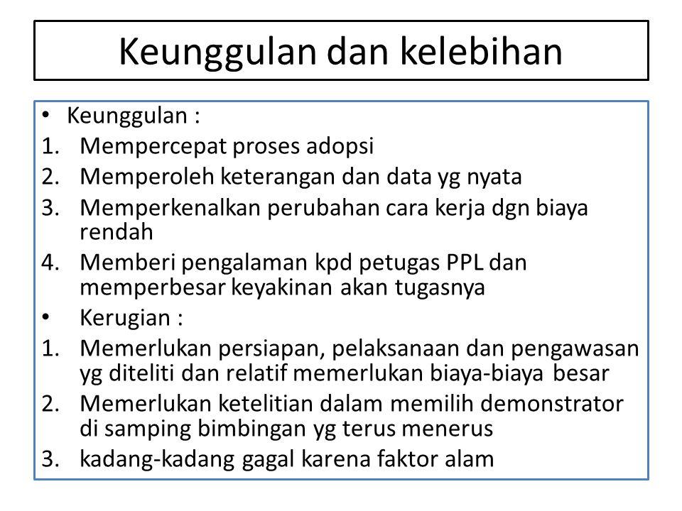 Keunggulan dan kelebihan • Keunggulan : 1.Mempercepat proses adopsi 2.Memperoleh keterangan dan data yg nyata 3.Memperkenalkan perubahan cara kerja dg