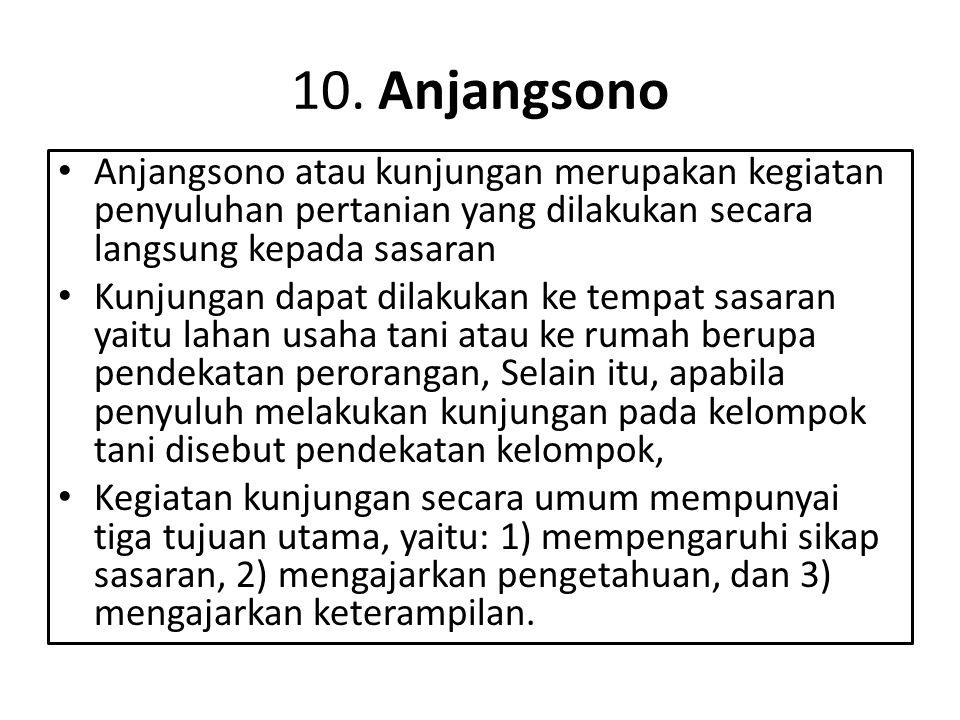10. Anjangsono • Anjangsono atau kunjungan merupakan kegiatan penyuluhan pertanian yang dilakukan secara langsung kepada sasaran • Kunjungan dapat dil