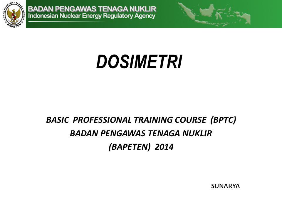 DOSIMETRI BASIC PROFESSIONAL TRAINING COURSE (BPTC) BADAN PENGAWAS TENAGA NUKLIR (BAPETEN) 2014 SUNARYA