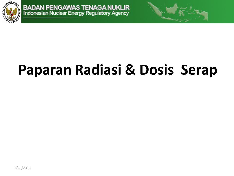 1/12/2013 Paparan Radiasi & Dosis Serap