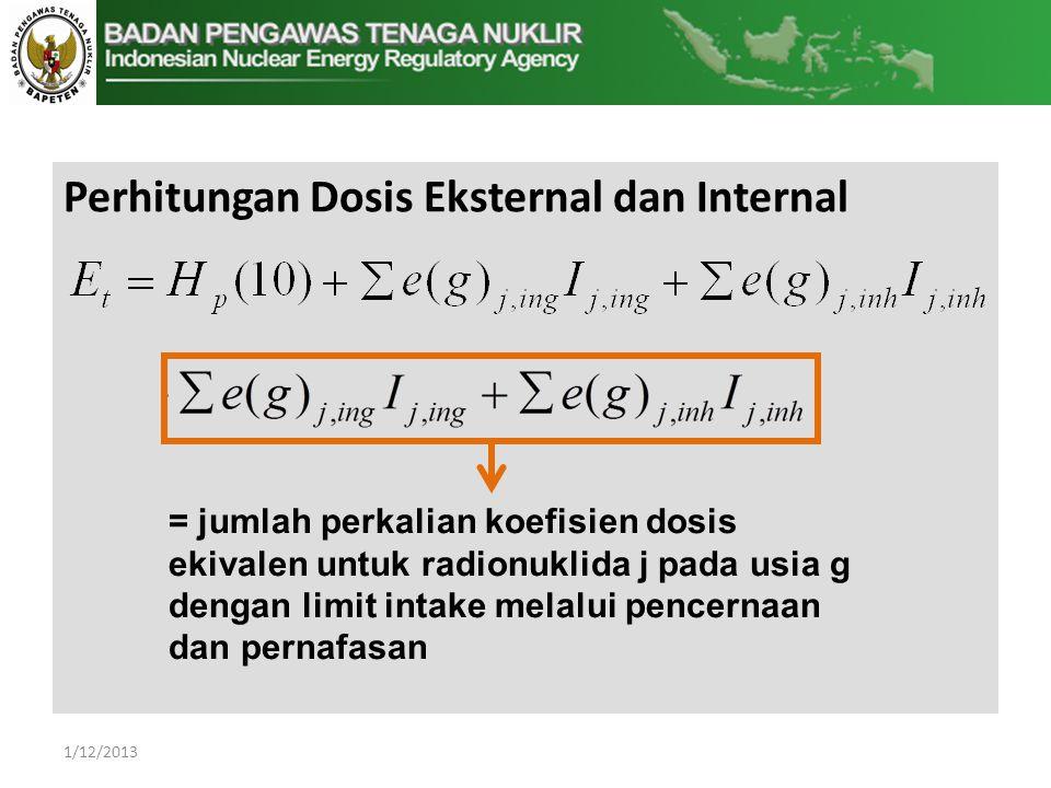 Perhitungan Dosis Eksternal dan Internal = jumlah perkalian koefisien dosis ekivalen untuk radionuklida j pada usia g dengan limit intake melalui pencernaan dan pernafasan 1/12/2013