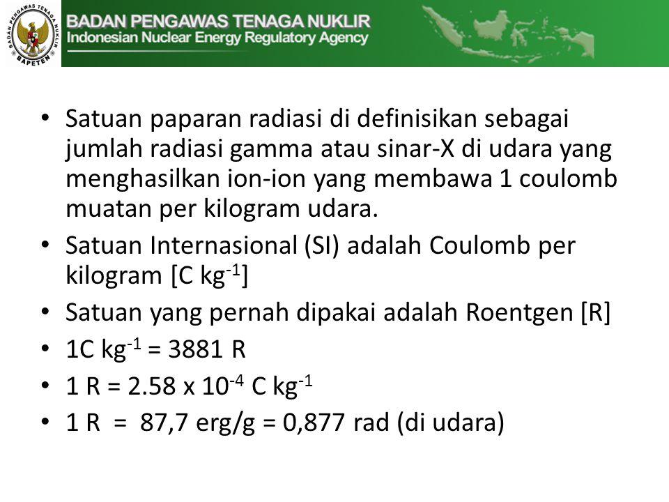 Nilai Faktor Gamma Sumber Radiasi  (R.m 2 / Ci.jam) Cesium-1370,33 Cobalt-601,32 Yodium-1250,07 Yodium-1310,22 Iridium-1920,48 Sumber : Cember, 2009 1/12/2013
