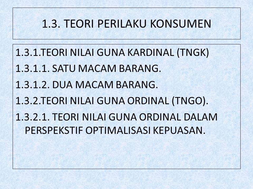 1.3.TEORI PERILAKU KONSUMEN 1.3.1.TEORI NILAI GUNA KARDINAL (TNGK) 1.3.1.1.