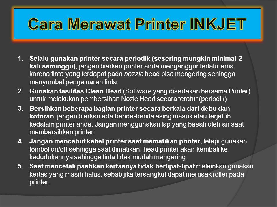 cara kerjanya yaitu : Menyemprotkan cairan tinta ke kertas. Printhead printer inkjet diberi nama piezoelectric printheads. Kualitas hasil printer diuk