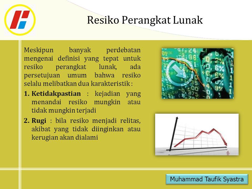 Resiko Perangkat Lunak Kategori dari Resiko perangkat lunak adalah sebagai berikut : 1.Resiko Proyek 2.Resiko Teknis 3.Resiko Bisnis Muhammad Taufik Syastra