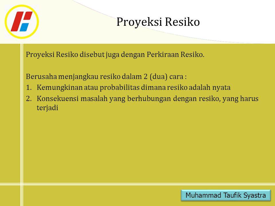 Proyeksi Resiko Proyeksi Resiko disebut juga dengan Perkiraan Resiko.
