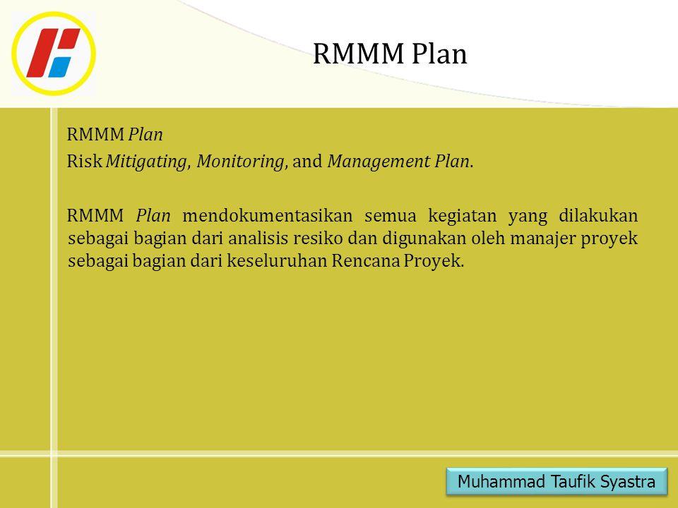 RMMM Plan Monitoring Resiko adalah aktivitas penelusuran proyek dengan 3 (tiga) sasaran utama : 1.Untuk memperkirakan apakah resiko yang diramalkan benar- benar terjadi 2.Untuk memastikan bahwa langkah aversi resiko yang didefinisikan untuk resiko telah diterapkan secara benar 3.Untuk mengumpulkan informasi yang dapat digunakan untuk analisis resiko masa yang akan datang Muhammad Taufik Syastra