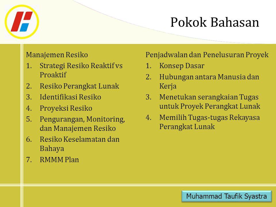 Pokok Bahasan Manajemen Resiko 1.Strategi Resiko Reaktif vs Proaktif 2.Resiko Perangkat Lunak 3.Identifikasi Resiko 4.Proyeksi Resiko 5.Pengurangan, Monitoring, dan Manajemen Resiko 6.Resiko Keselamatan dan Bahaya 7.RMMM Plan Muhammad Taufik Syastra Penjadwalan dan Penelusuran Proyek 1.Konsep Dasar 2.Hubungan antara Manusia dan Kerja 3.Menetukan serangkaian Tugas untuk Proyek Perangkat Lunak 4.Memilih Tugas-tugas Rekayasa Perangkat Lunak