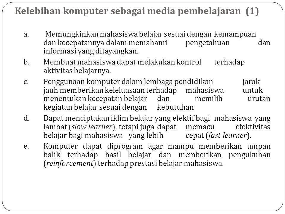 Kelebihan komputer sebagai media pembelajaran (1) a.