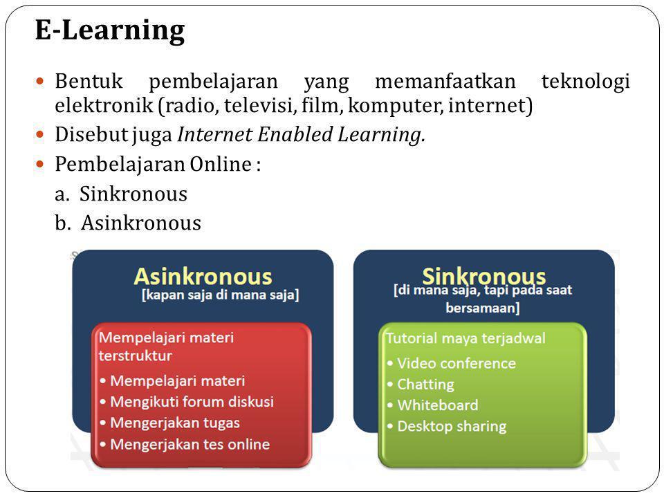 E-Learning  Bentuk pembelajaran yang memanfaatkan teknologi elektronik (radio, televisi, film, komputer, internet)  Disebut juga Internet Enabled Learning.
