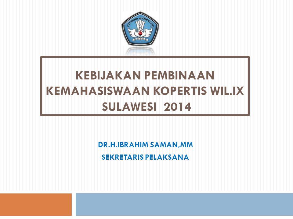 KEBIJAKAN PEMBINAAN KEMAHASISWAAN KOPERTIS WIL.IX SULAWESI 2014 DR.H.IBRAHIM SAMAN,MM SEKRETARIS PELAKSANA