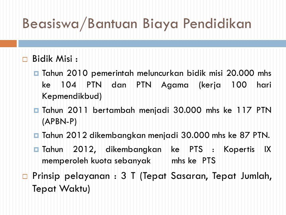Beasiswa/Bantuan Biaya Pendidikan  Bidik Misi :  Tahun 2010 pemerintah meluncurkan bidik misi 20.000 mhs ke 104 PTN dan PTN Agama (kerja 100 hari Ke