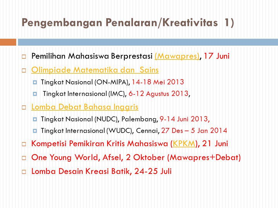 Pengembangan Penalaran/Kreativitas 1)  Pemilihan Mahasiswa Berprestasi (Mawapres), 17 Juni(Mawapres)  Olimpiade Matematika dan Sains Olimpiade Matem
