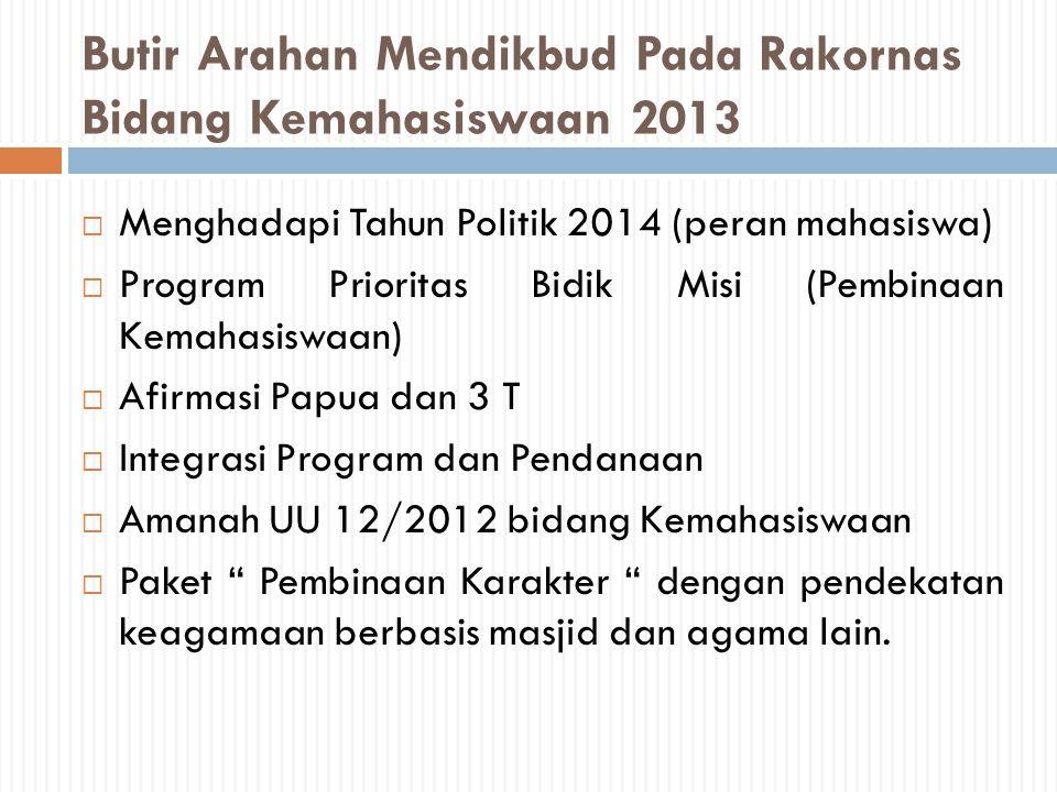 Butir Arahan Mendikbud Pada Rakornas Bidang Kemahasiswaan 2013  Menghadapi Tahun Politik 2014 (peran mahasiswa)  Program Prioritas Bidik Misi (Pembi
