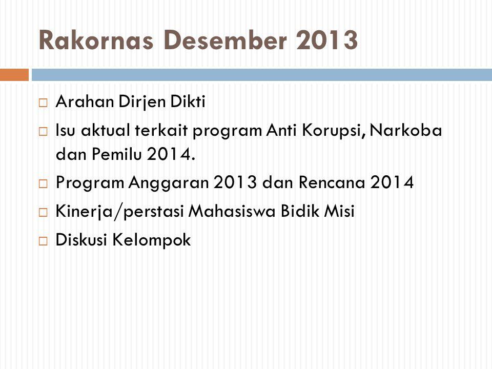 Rakornas Desember 2013  Arahan Dirjen Dikti  Isu aktual terkait program Anti Korupsi, Narkoba dan Pemilu 2014.  Program Anggaran 2013 dan Rencana 2