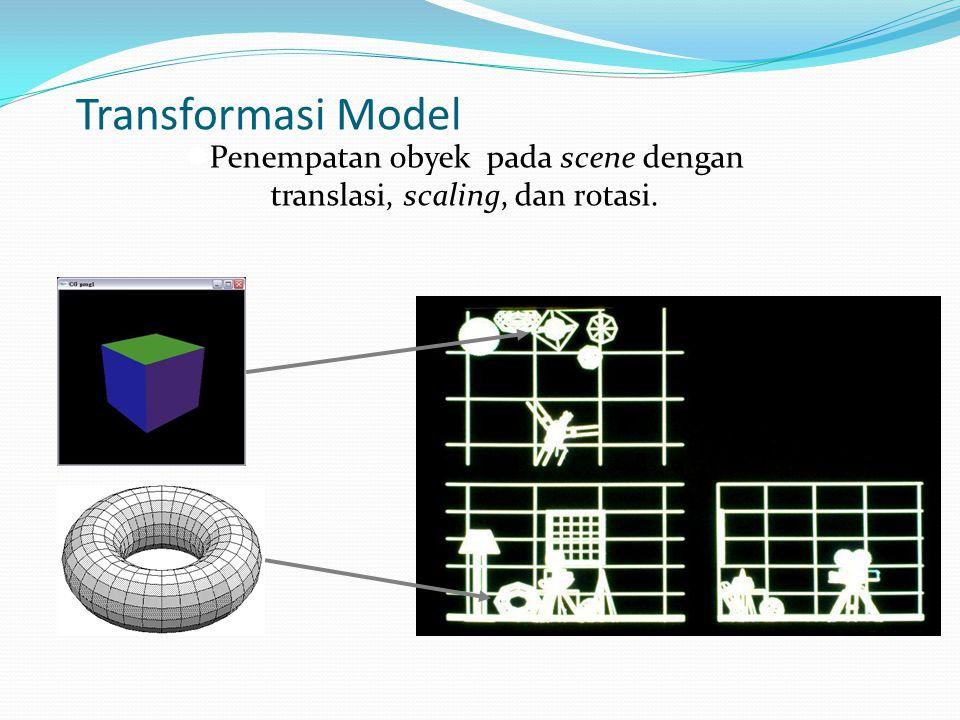 Transformasi Model  Penempatan obyek pada scene dengan translasi, scaling, dan rotasi.