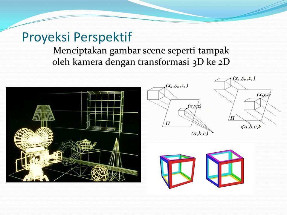 Proyeksi Perspektif Menciptakan gambar scene seperti tampak oleh kamera dengan transformasi 3D ke 2D
