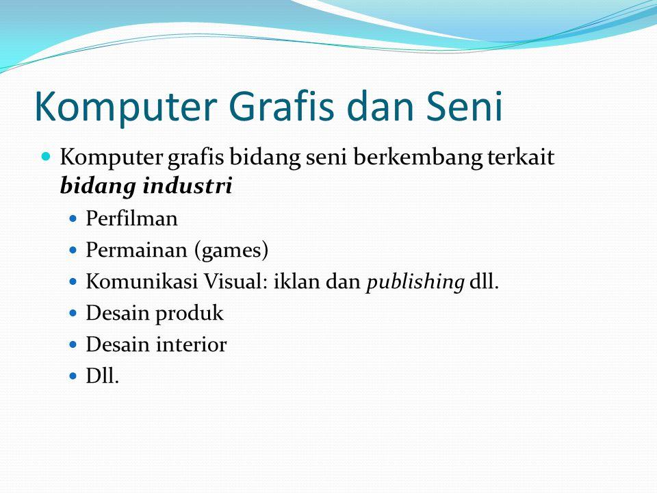 Komputer Grafis dan Seni  Komputer grafis bidang seni berkembang terkait bidang industri  Perfilman  Permainan (games)  Komunikasi Visual: iklan d
