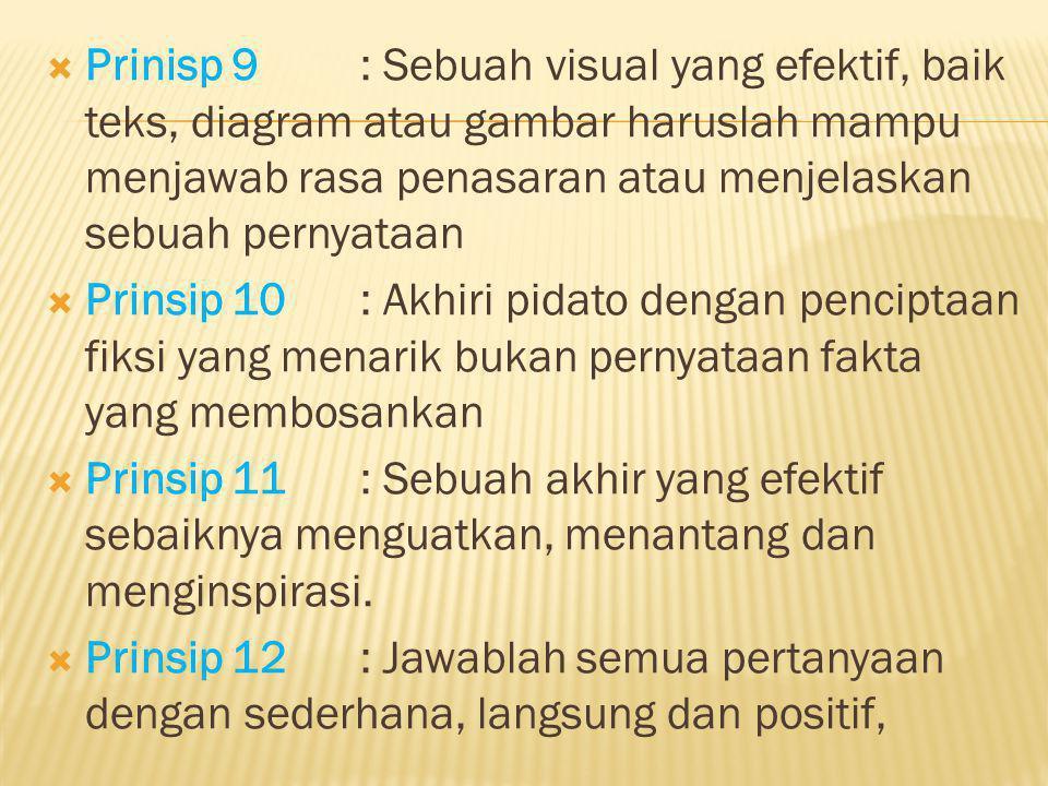  Prinsip 13: Yakinkan bahwa pidato sebagai solusi  Prinsip 14: Kerangka yang dinamis adalah potret seluruh pidato dan dengan mudah dibaca sekaligus diacu  Prinsip 15: Gunakan kerucut ganda untuk pendekatan  Prinsip 16: Menjadi analis yang efektif terhadap penampilan pidato diri sendiri dan orang lain.