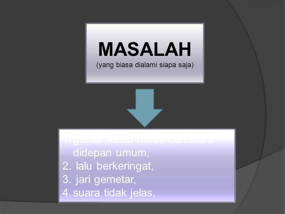 MASALAH (yang biasa dialami siapa saja) 1.gentar kalau harus berbicara didepan umum, 2.