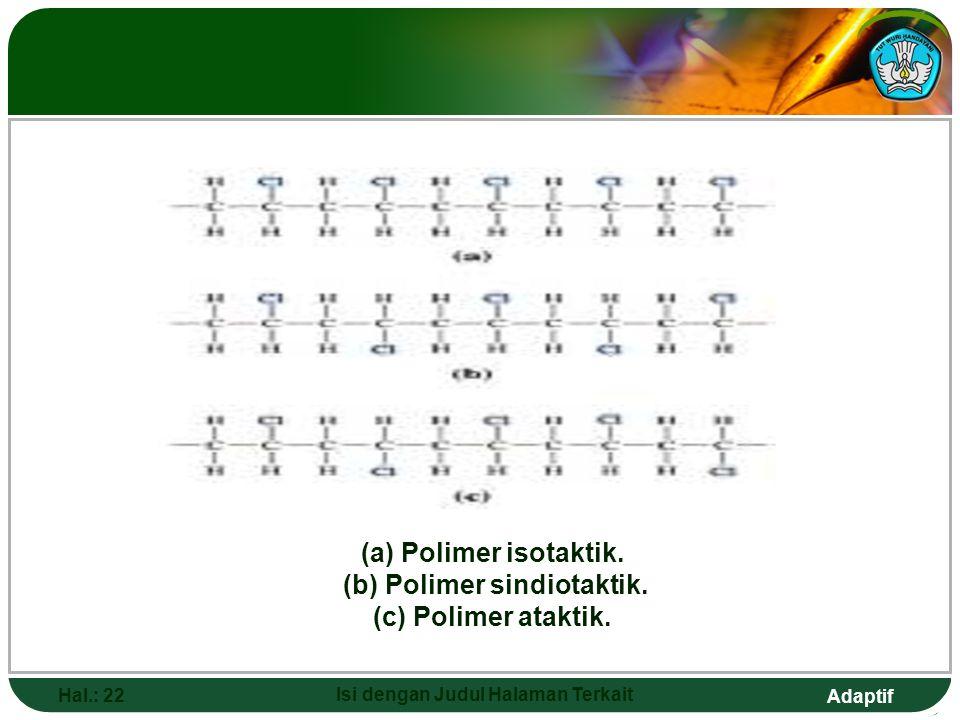 Adaptif POLIMER DIBEDAKAN MENJADI Hal.: 21 Isi dengan Judul Halaman Terkait a.Polivinilklorida isotaktik Semua atom Cl secara teratur berada pada satu