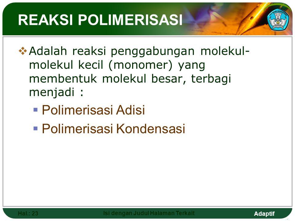 Adaptif Hal.: 22 Isi dengan Judul Halaman Terkait (a) Polimer isotaktik. (b) Polimer sindiotaktik. (c) Polimer ataktik.