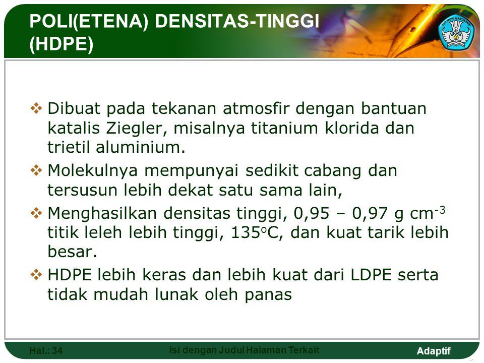 Adaptif Hal.: 33 Isi dengan Judul Halaman Terkait Beberapa Kegunaan Poli(etena) LDPE