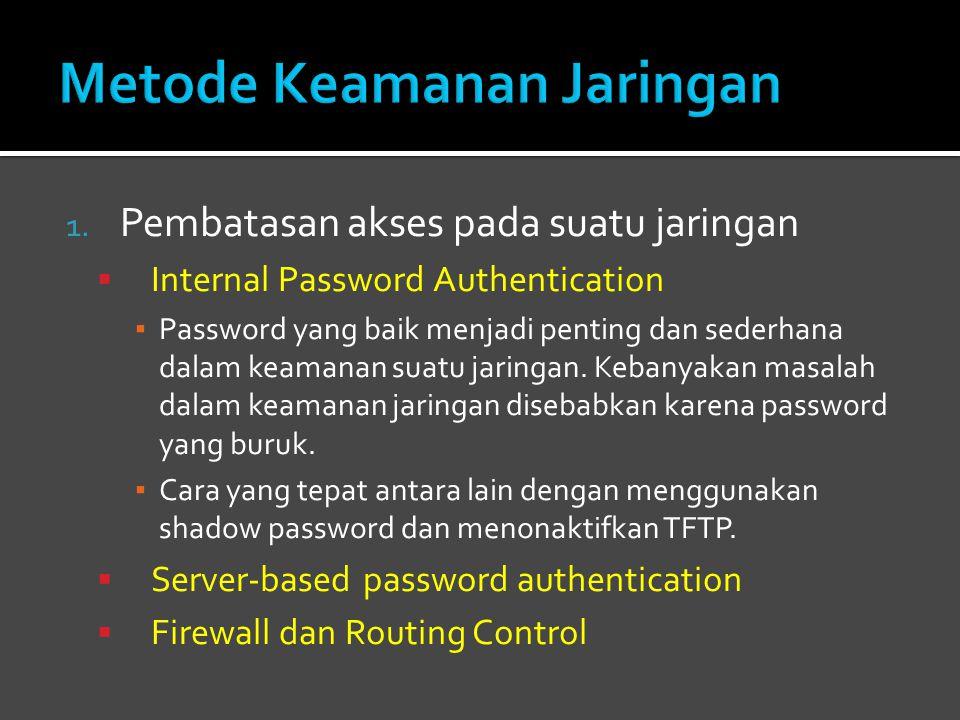 1. Pembatasan akses pada suatu jaringan  Internal Password Authentication ▪ Password yang baik menjadi penting dan sederhana dalam keamanan suatu jar
