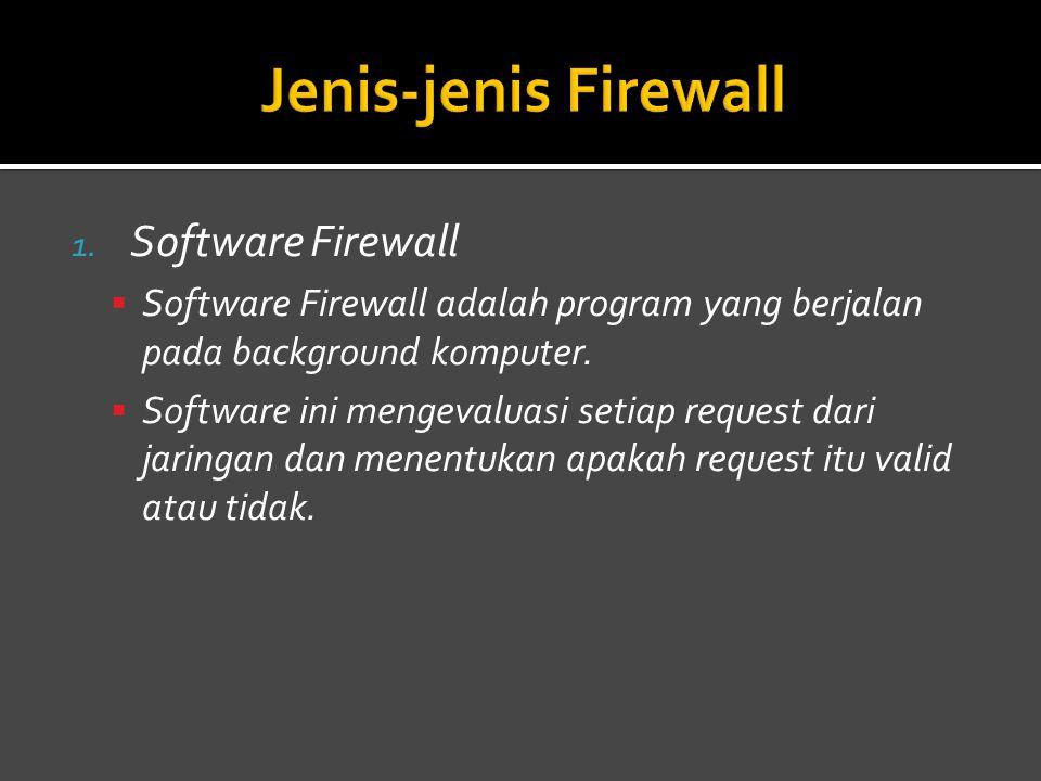 1.Software Firewall  Software Firewall adalah program yang berjalan pada background komputer.