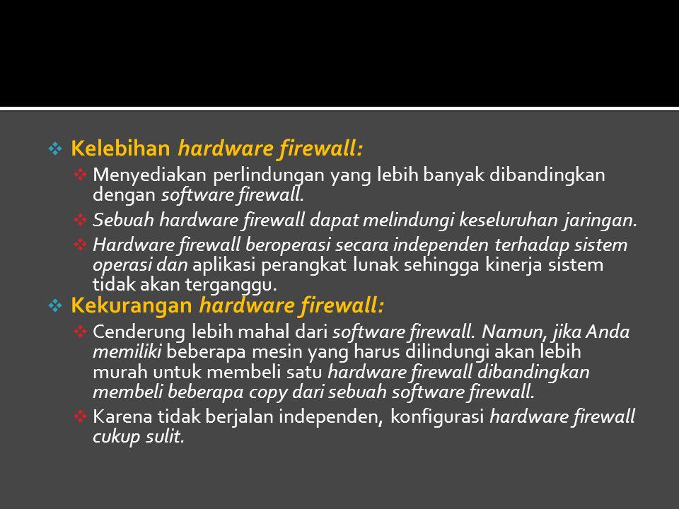  Kelebihan hardware firewall:  Menyediakan perlindungan yang lebih banyak dibandingkan dengan software firewall.