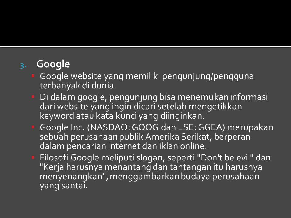 3.Google  Google website yang memiliki pengunjung/pengguna terbanyak di dunia.