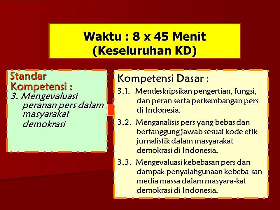 Waktu : 4 x 45 Menit Standar Kompetensi : Mengevaluasi peranan pers dalam masyarakat demokrasi Kompetensi Dasar : 3.1.Mendeskripsikan pengertian, fungsi, pengertian, fungsi, dan peran serta dan peran serta perkembangan pers perkembangan pers di Indonesia.