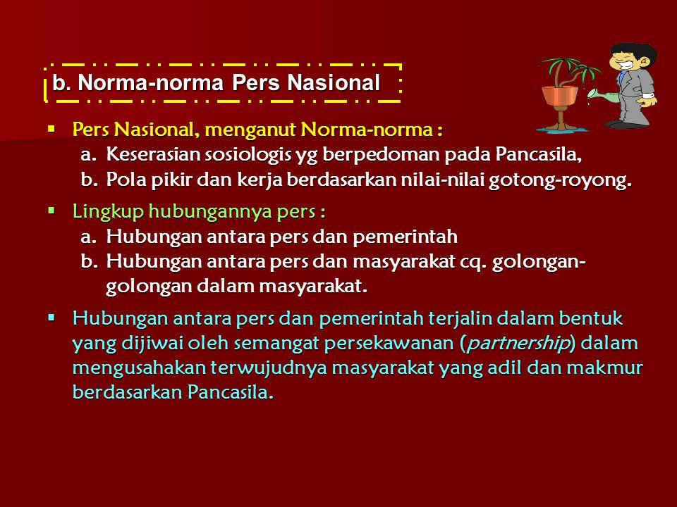 b.Norma-norma Pers Nasional  Pers Nasional, menganut Norma-norma : a.Keserasian sosiologis yg berpedoman pada Pancasila, b.Pola pikir dan kerja berda