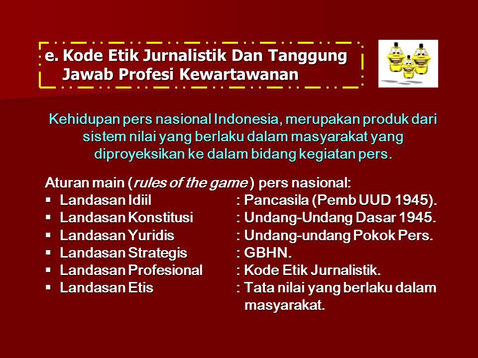 e.Kode Etik Jurnalistik Dan Tanggung Jawab Profesi Kewartawanan Aturan main (rules of the game ) pers nasional:  Landasan Idiil: Pancasila (Pemb UUD