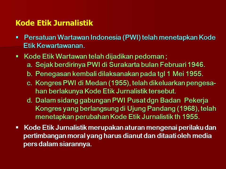 Kode Etik Jurnalistik  Persatuan Wartawan Indonesia (PWI) telah menetapkan Kode Etik Kewartawanan. Etik Kewartawanan.  Kode Etik Wartawan telah dija