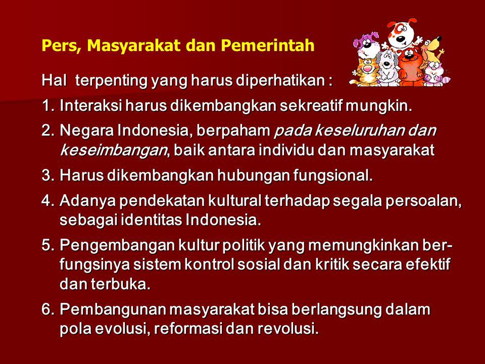 Hal terpenting yang harus diperhatikan : 1.Interaksi harus dikembangkan sekreatif mungkin. 2.Negara Indonesia, berpaham pada keseluruhan dan keseimban